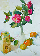 Camellia Paintings - Camellias and brown sugar Study by Andre MEHU