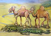 Crocodile Paintings - Camels n Crocodiles by Kevin Middleton