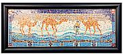 Camel Glass Art - Camels On The Seashore by Beena Samuel
