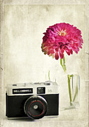 Camera And Flowers Print by Darren Fisher