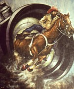 Rodeo Art Drawings - Camera in Action - Western Art by Peter Art Prints Posters Gallery