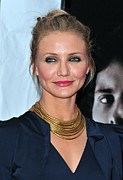 Pink Lipstick Framed Prints - Cameron Diaz At Arrivals For The Box Framed Print by Everett
