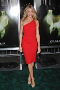 Red Dress Framed Prints - Cameron Diaz Wearing An Azzaro Dress Framed Print by Everett