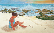 Shoreline Pastels Posters - Camila and the Carribean Sea Poster by Jim Barber Hove