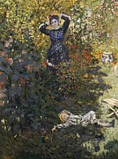 Stretching Framed Prints - Camille and Jean in the Garden at Argenteuil  Framed Print by Claude Monet
