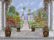Garden Flowers Prints - Camminando Verso Il Lago Print by Guido Borelli