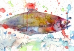 Fish Print Mixed Media Posters - Camoflaged Rainbow Poster by Jeanette Jobson