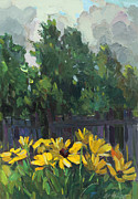 Russia Paintings - Camomiles by the fence by Juliya Zhukova