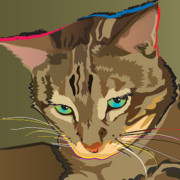 Kitty Digital Art - Camouflage Bengal Cat Square by Robyn Saunders