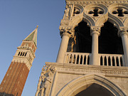 Bell Tower Framed Prints - Campanile and palace ducal. Venice Framed Print by Bernard Jaubert