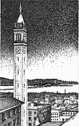 Brick Buildings Drawings Prints - Campanile in Berkeley California Campus Print by Rob M Harper