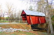 Grist Mill Prints - Campbells Covered Bridge Print by Diane Toro