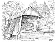 Covered Bridge Drawings Posters - Campbells Covered Bridge Poster by Greg Joens