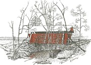 Covered Bridge Drawings Posters - Campbels Bridge Number Four Poster by Donald Yeomans