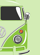  Hippie Digital Art Posters - Camper Green 2 Poster by Michael Tompsett