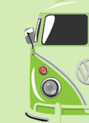  Hippie Digital Art Posters - Camper Green Poster by Michael Tompsett