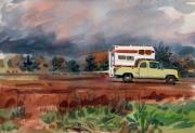 Camper Paintings - Camper on Pacific Coast Highway by Donald Maier