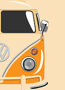  Hippie Digital Art Posters - Camper Orange 2 Poster by Michael Tompsett