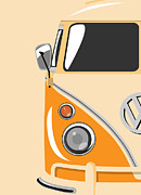Sixties Framed Prints - Camper Orange Framed Print by Michael Tompsett