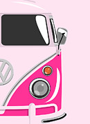 Vw Camper Van Framed Prints - Camper Pink 2 Framed Print by Michael Tompsett