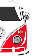 Vw Posters - Camper Red 2 Poster by Michael Tompsett