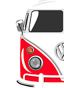 Vw Posters - Camper Red Poster by Michael Tompsett