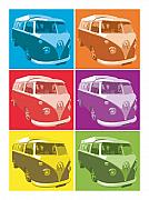 Sixties Digital Art Posters - Camper Van Pop Art Poster by Michael Tompsett