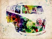 Watercolor Digital Art Framed Prints - Camper Van Urban Art Framed Print by Michael Tompsett