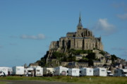 Sami Sarkis Prints - Campervans parked beneath Mont Saint-Michel Print by Sami Sarkis