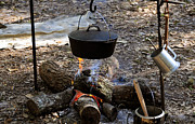 Great Outdoors Photos - Campfire cooking by David Lee Thompson
