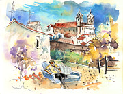 Townscapes Drawings - Campo Maior in Portugal 03 by Miki De Goodaboom