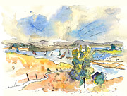 Lakes Drawings - Campo Maior in Portugal 05 by Miki De Goodaboom