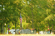 Flagpole Photos - Campsite Mirage by Robert Harmon