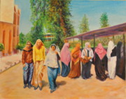 Hijab Paintings - Campus Life by Lucilda Dassardo-Cooper