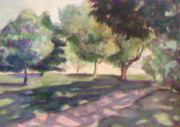 Quad Painting Prints - Campus Walk Print by Julie Morrison