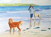 Lurcher Framed Prints - Can I Play Framed Print by Barbara Walker