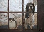 Springer Spaniel Paintings - Can We Come In by Anna Bain