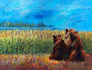 Brown Bear Paintings - Can You See Whats Going On... by Arline Wagner