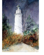 Wisconsin Landscape  Painting Originals - Cana Island Light House by Ken Marsden