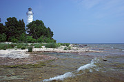 Door County Landmark Framed Prints - Cana Island Lighthouse 9 A Framed Print by John Brueske