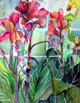 Dreamscape Mixed Media Metal Prints - Cana Lily and Daisy Metal Print by Mindy Newman