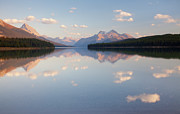 Maligne Lake Framed Prints - Canada, Alberta, Jasper National Park, Maligne Lake, Reflection Of Clouds In A Lake Framed Print by Don Paulson Photography
