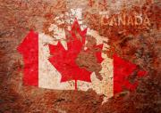 North America Mixed Media Posters - Canada Flag Map Poster by Michael Tompsett