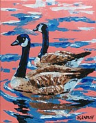 Geese Paintings - Canada Geese by Christine Karron