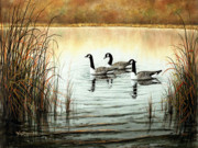 Waterfowl Mixed Media Framed Prints - Canada Geese Framed Print by Ken Johnston
