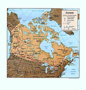 Canada Drawings Prints - Canada Relief Map Print by Pg Reproductions