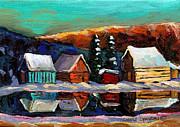 Canadian Art Laurentian Landscape Quebec Winter Scene Print by Carole Spandau
