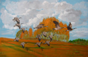 Canadian Geese Painting Posters - Canadian Geese Poster by Richard Le Page