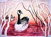Canadian Geese Paintings - Canadian Geese Sunset by Connie Williams