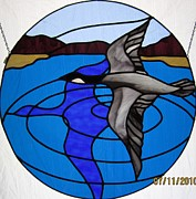 Canadian Glass Art Originals - Canadian Gray Goose by Gladys Espenson